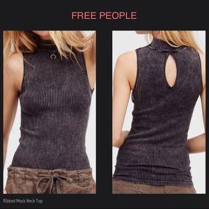 FREE PEOPLE Ribbed Mock Neck Sleeveless Top